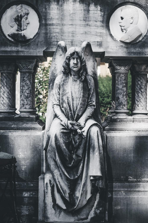 sitting angel statue