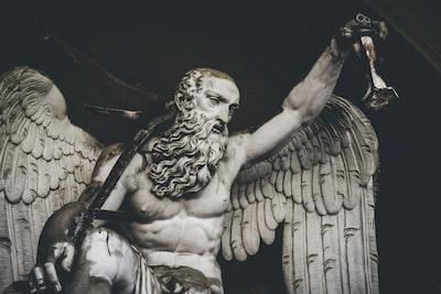 winged man statue