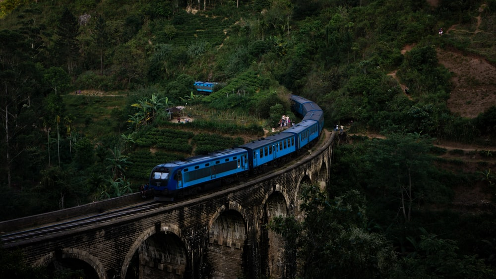 aerial photography of blue train