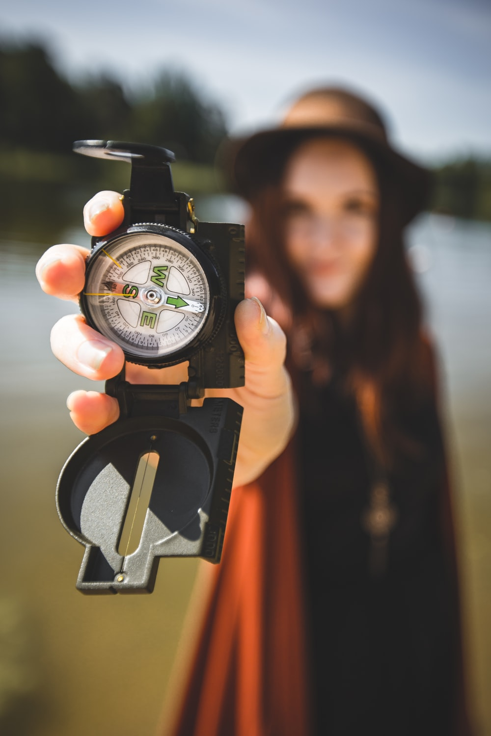 person showing compass