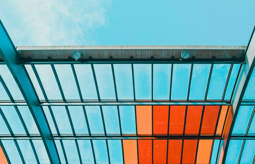 orange and clear ceiling under blue sky