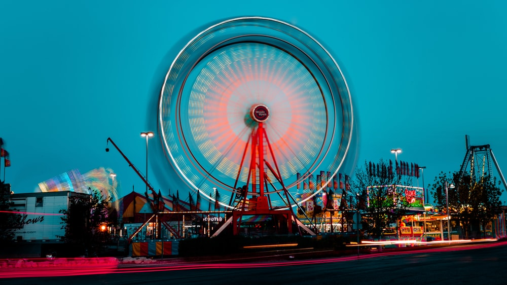 turned-on Ferris Wheel miniature