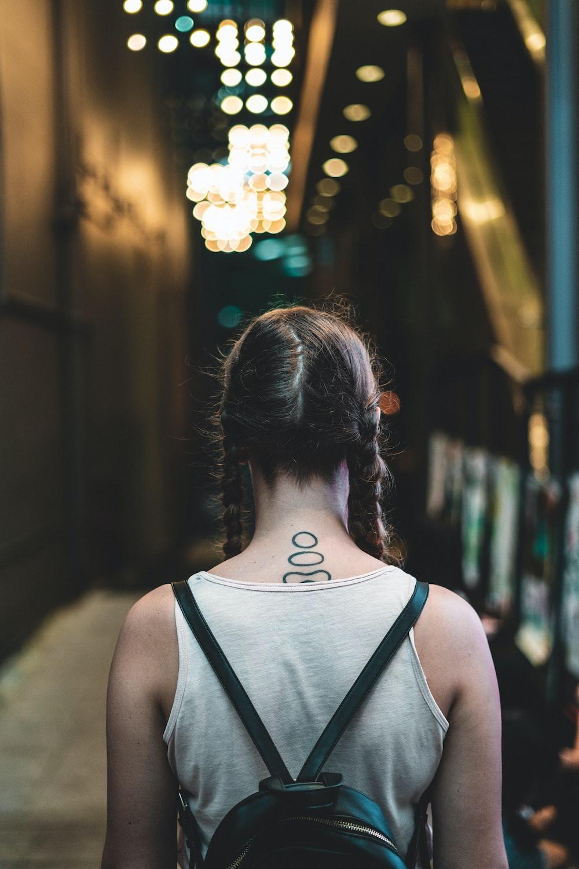 woman wearing blackpack