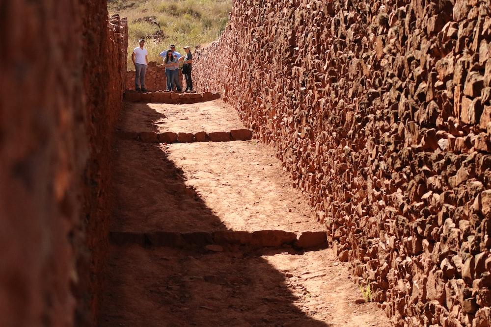 people walking beside brown concrete walls