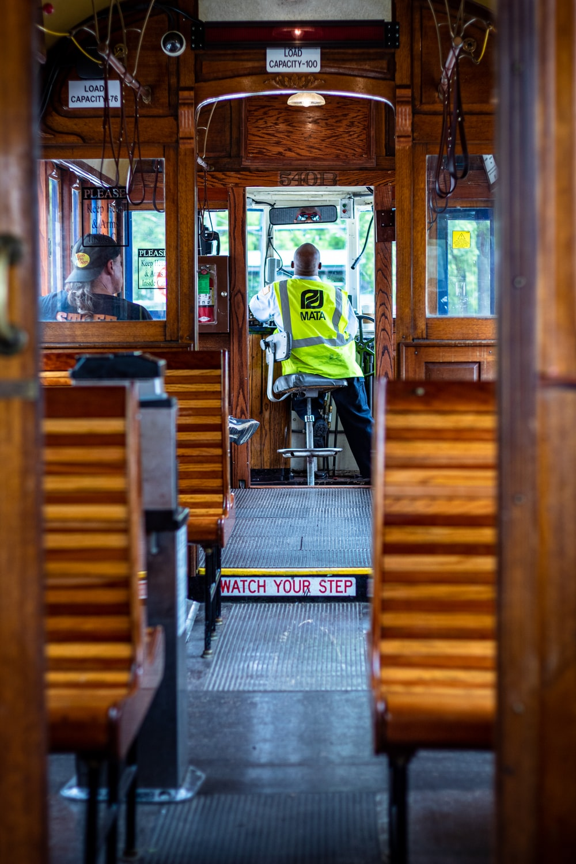 man driving tram