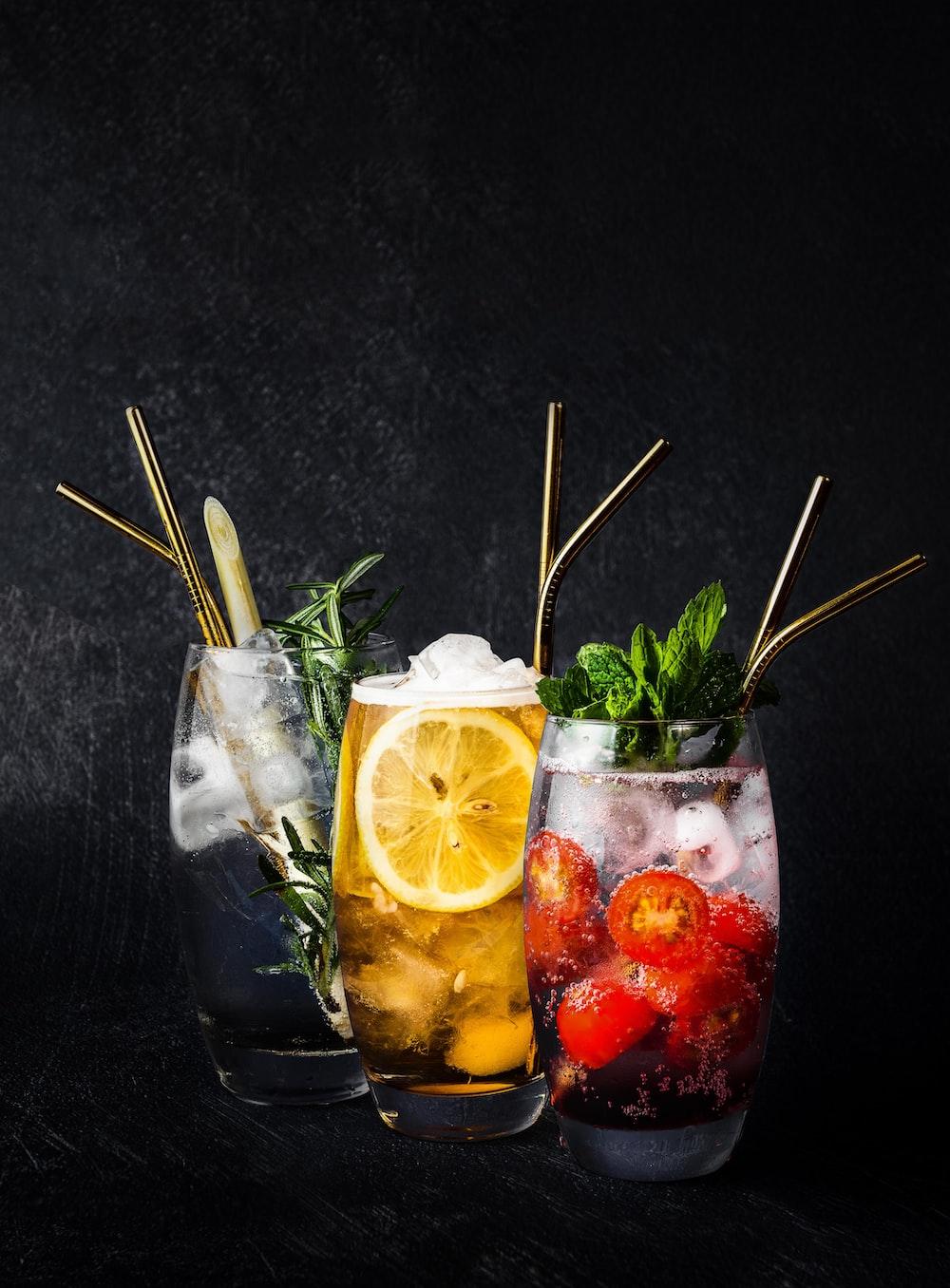 three assorted juices