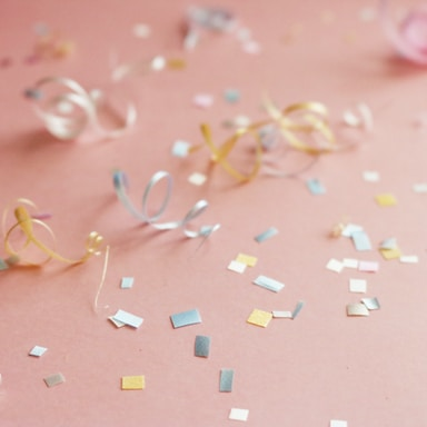 assorted-color confetti on floor