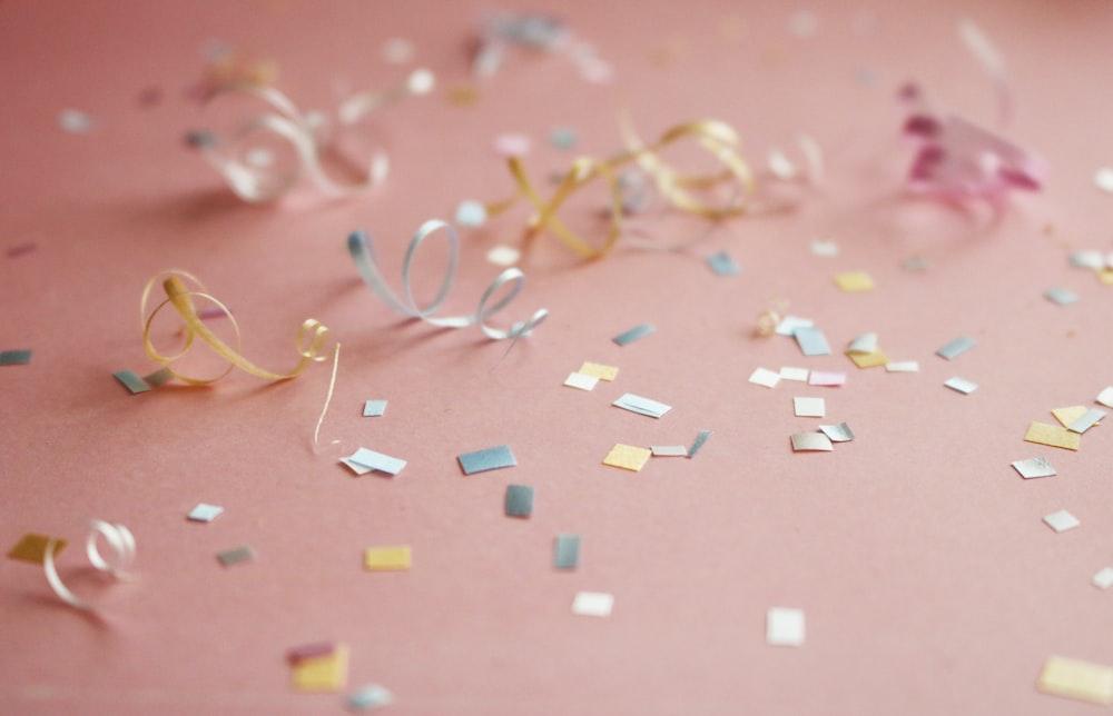 assorted-color confetti
