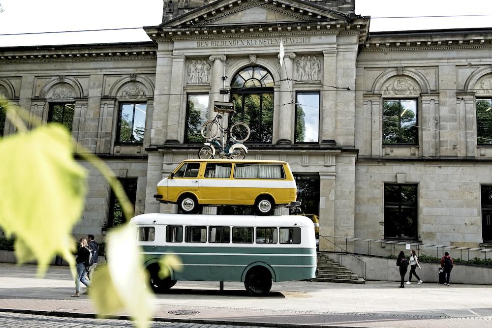 green and white transit bus