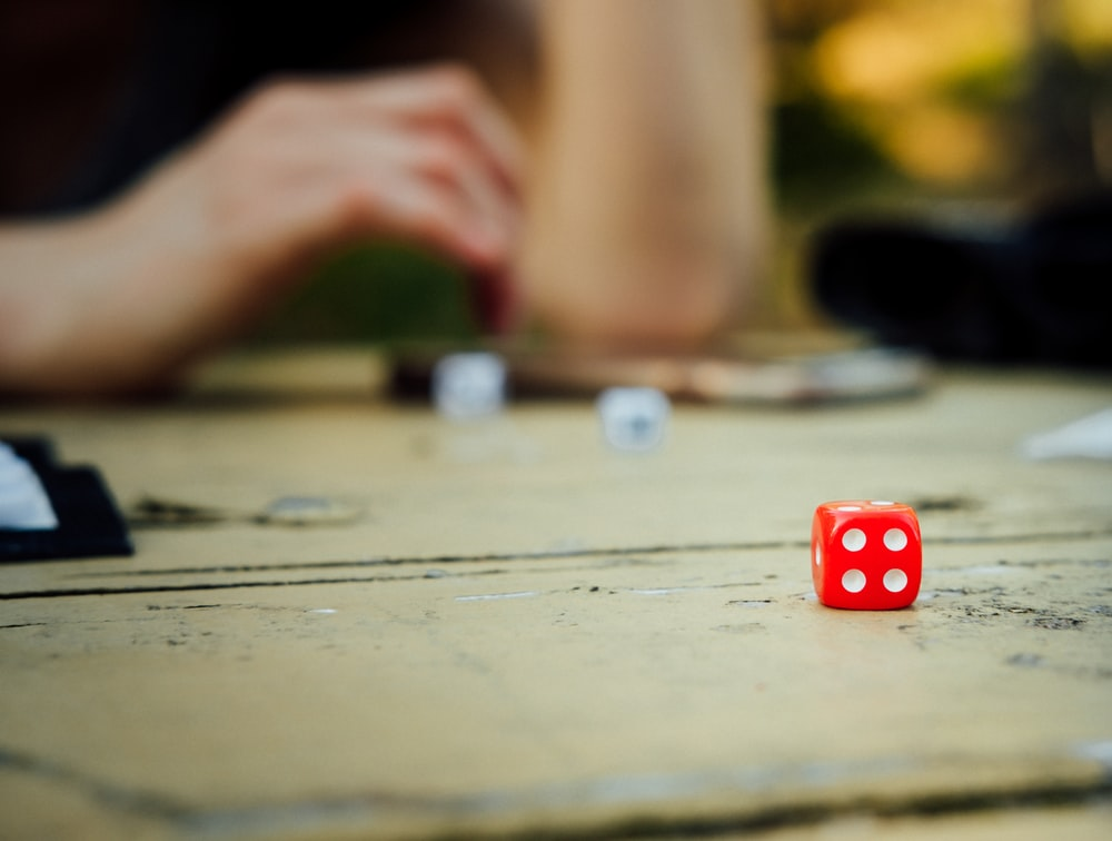 close-up photo of red dice