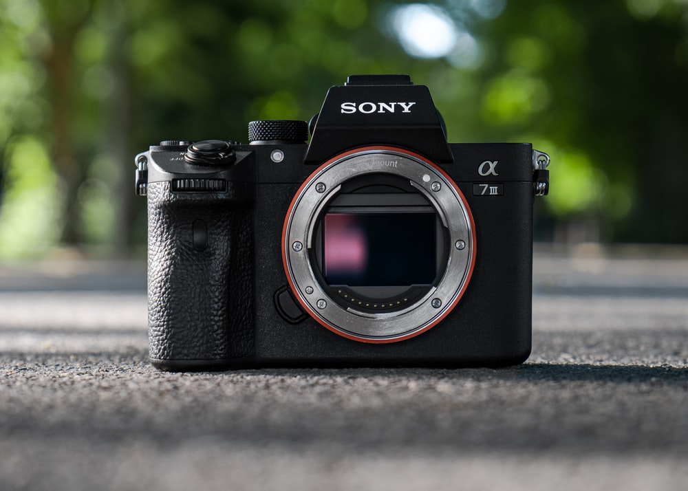 black Sony Alpha DSLR camera