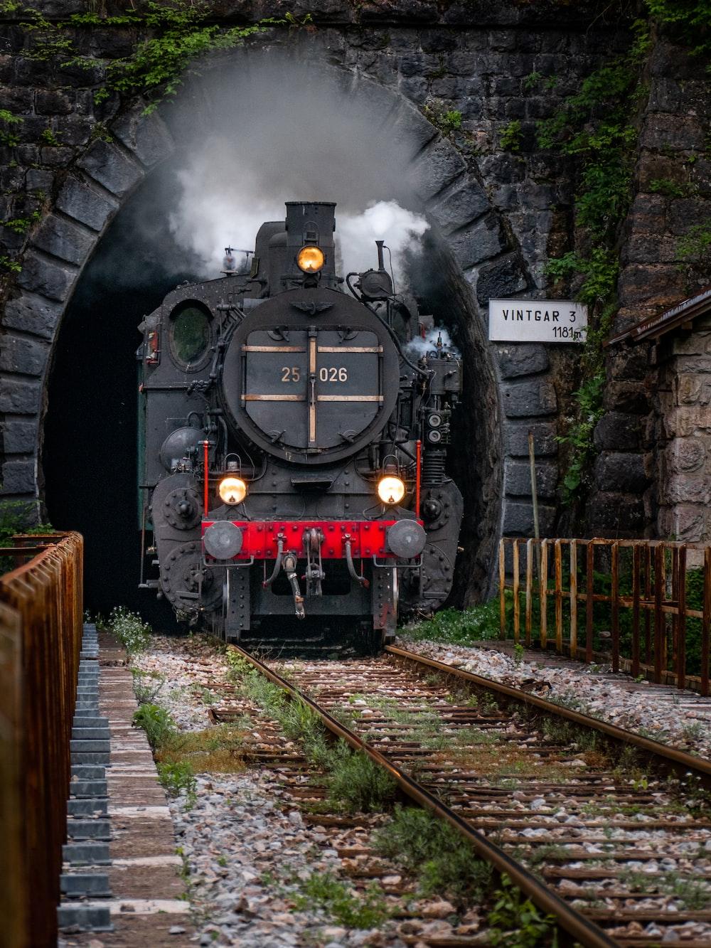 black train on rails