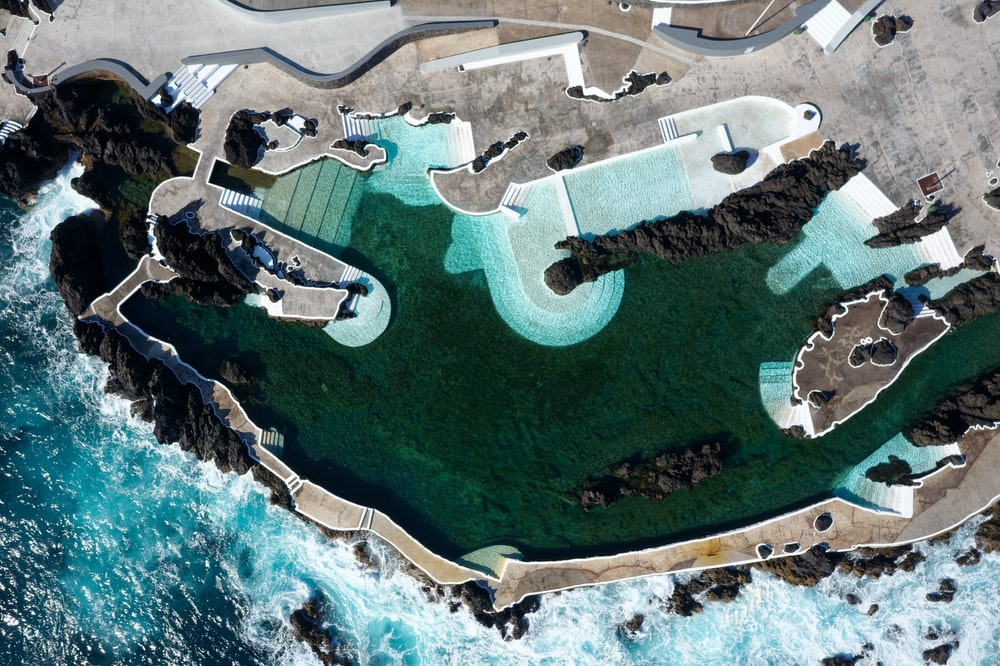 aerial photo of resort