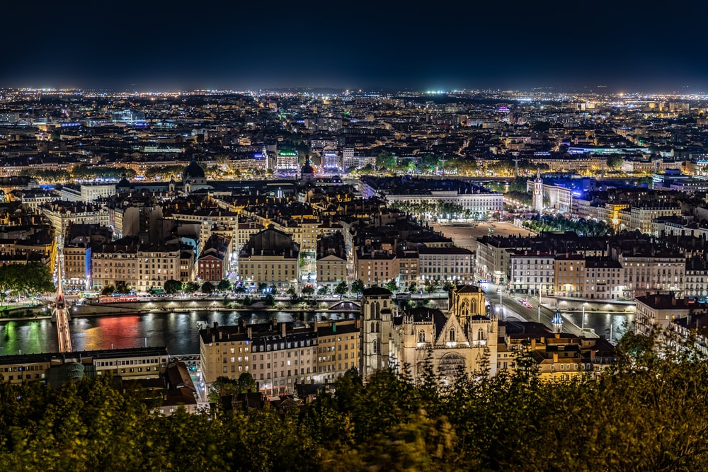 city skyline view during night