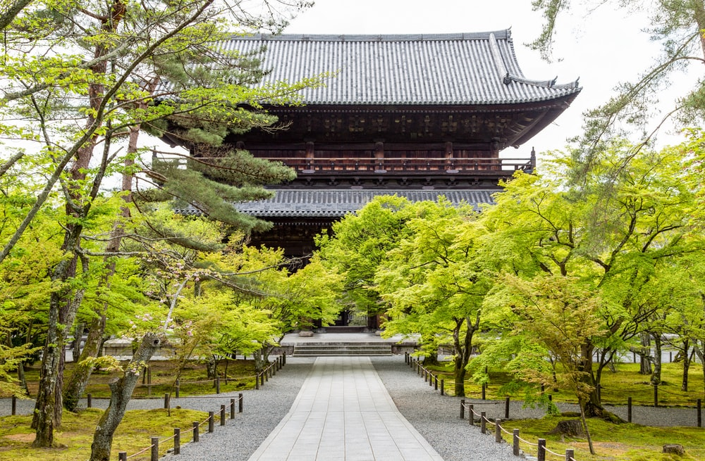 temple near green trees during daytime