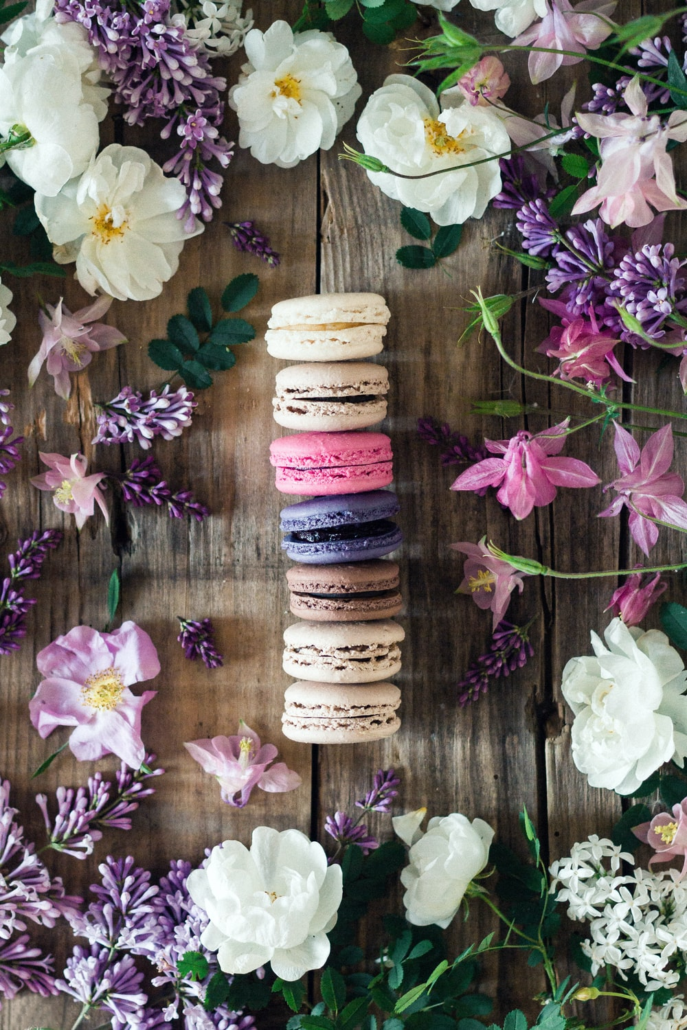 multicolored French macrons with assorted flowers