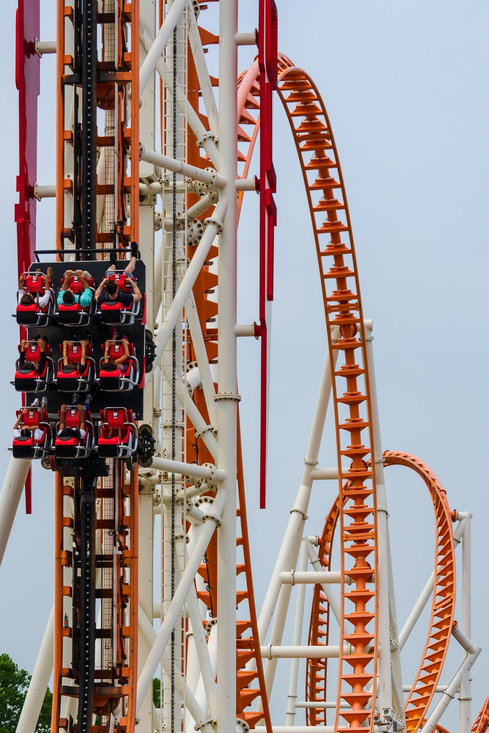 people riding in rollercoaster