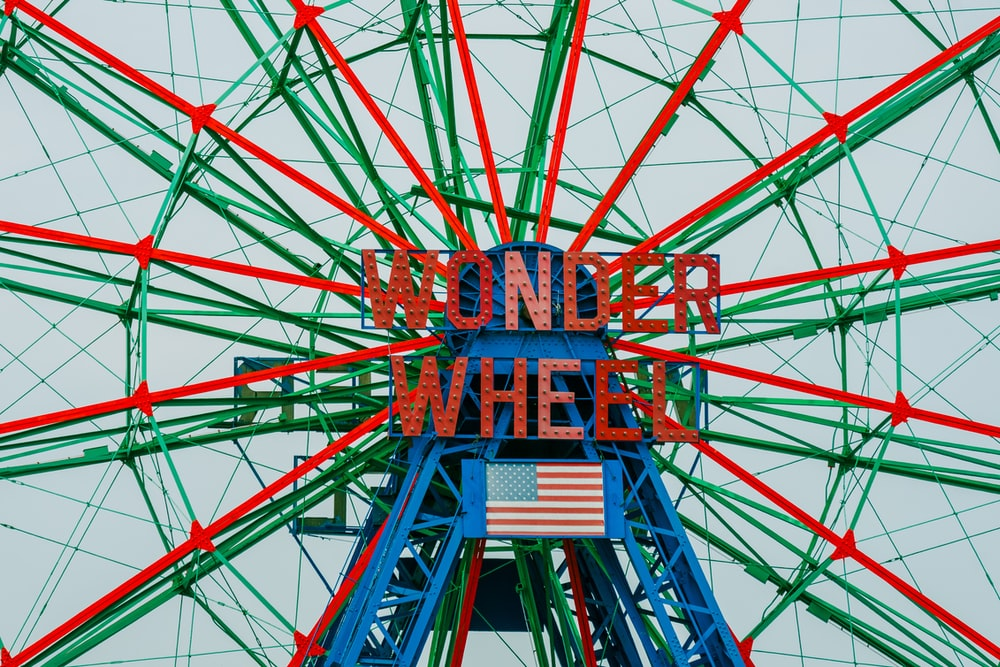 green and red Wonder Wheel ferris wheel