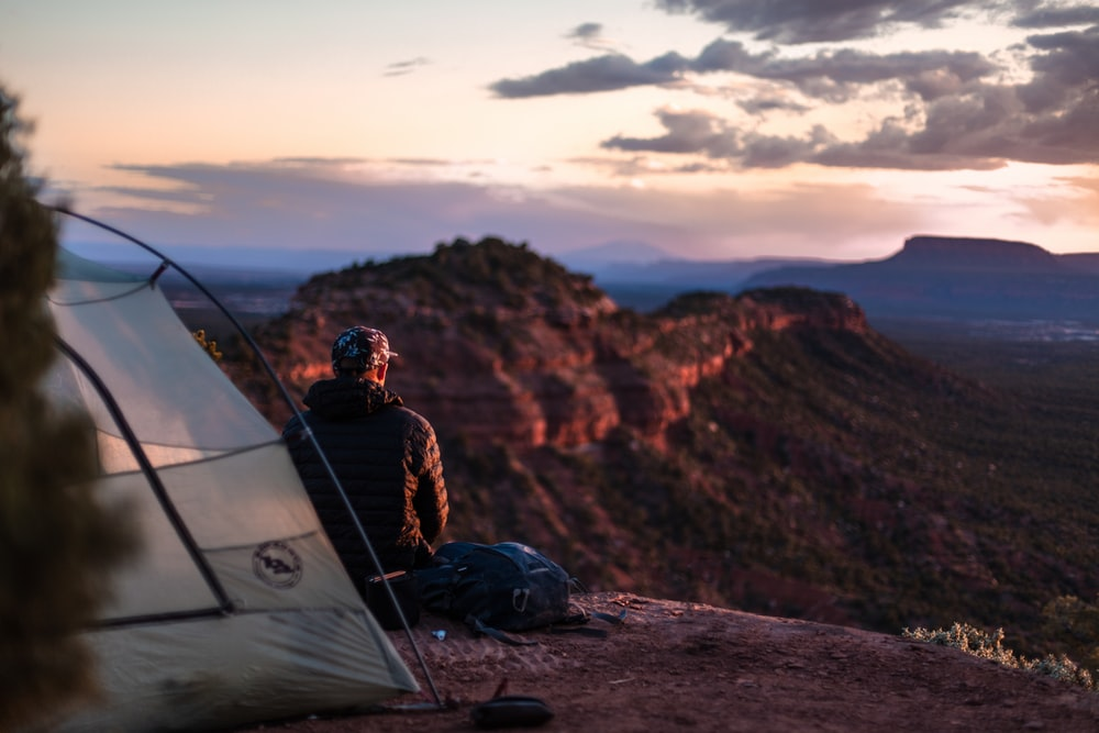 man looking at horizon
