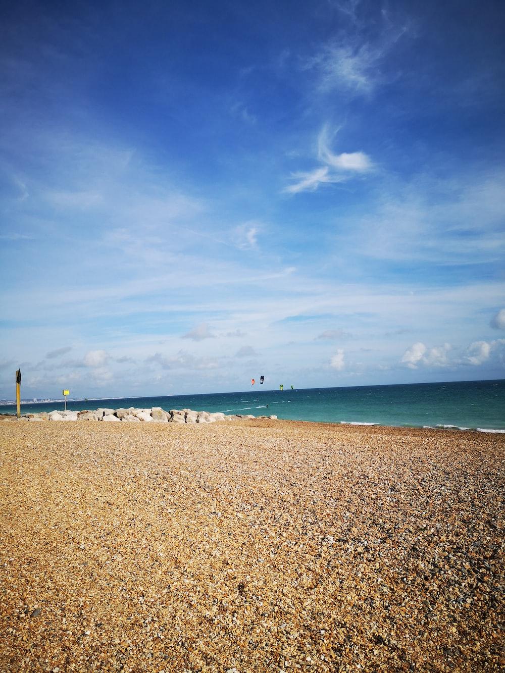 beach under blue skies