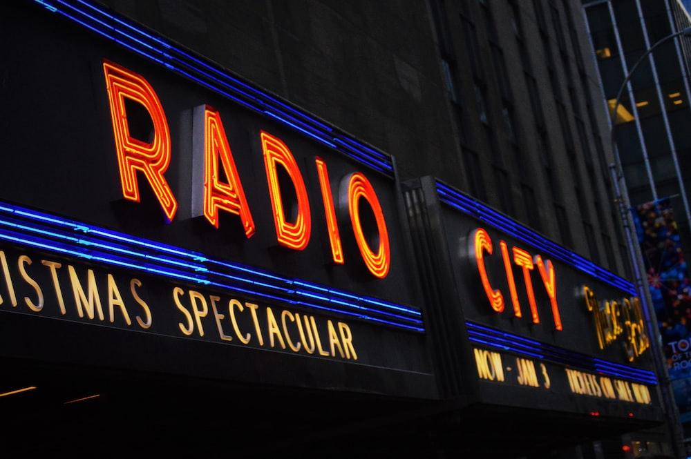 Radio City LED sign on building