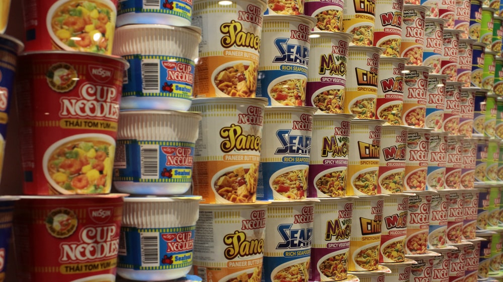 assorted-brand cup noodles