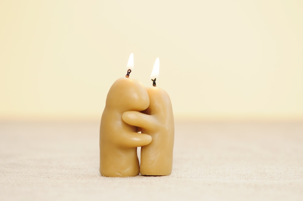 two brown candles