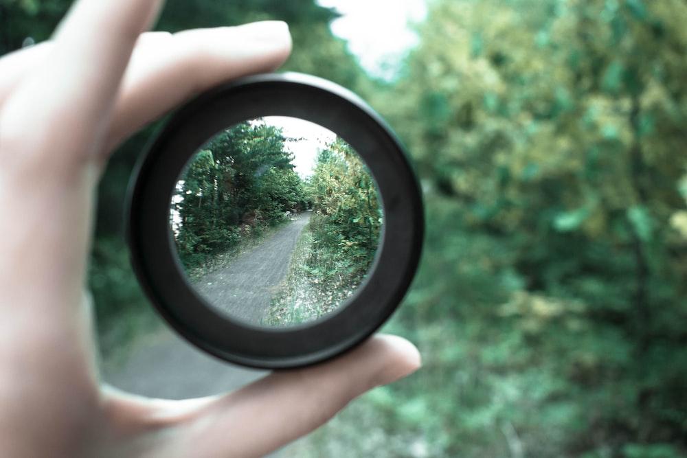 tree reflected on camera lens
