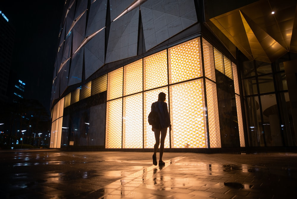 silhouette photography of person standing near building