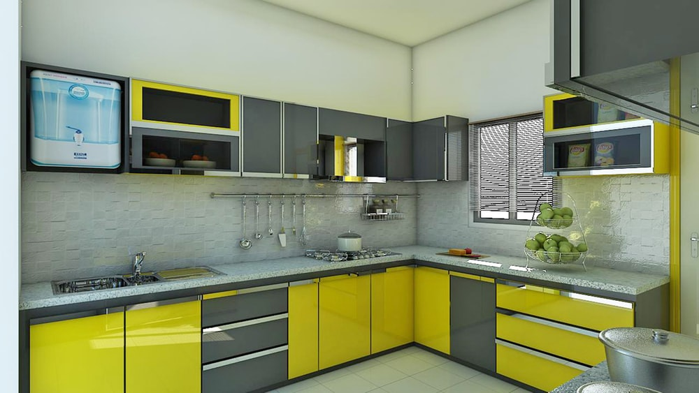 gray-and-yellow kitchen cabinets
