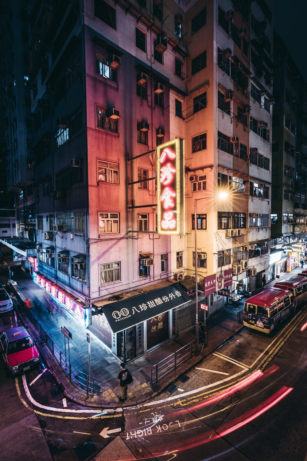 long exposure photography of lighting city buildings