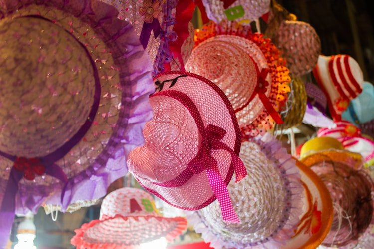 Mixture of colourful hats