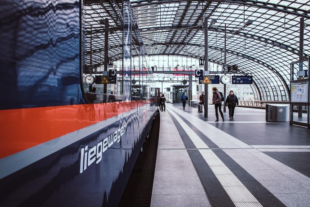 blue and orange train