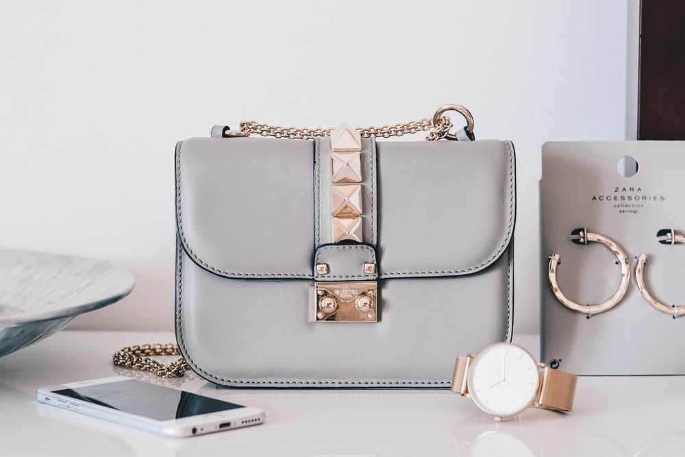 grey leather crossbody bag