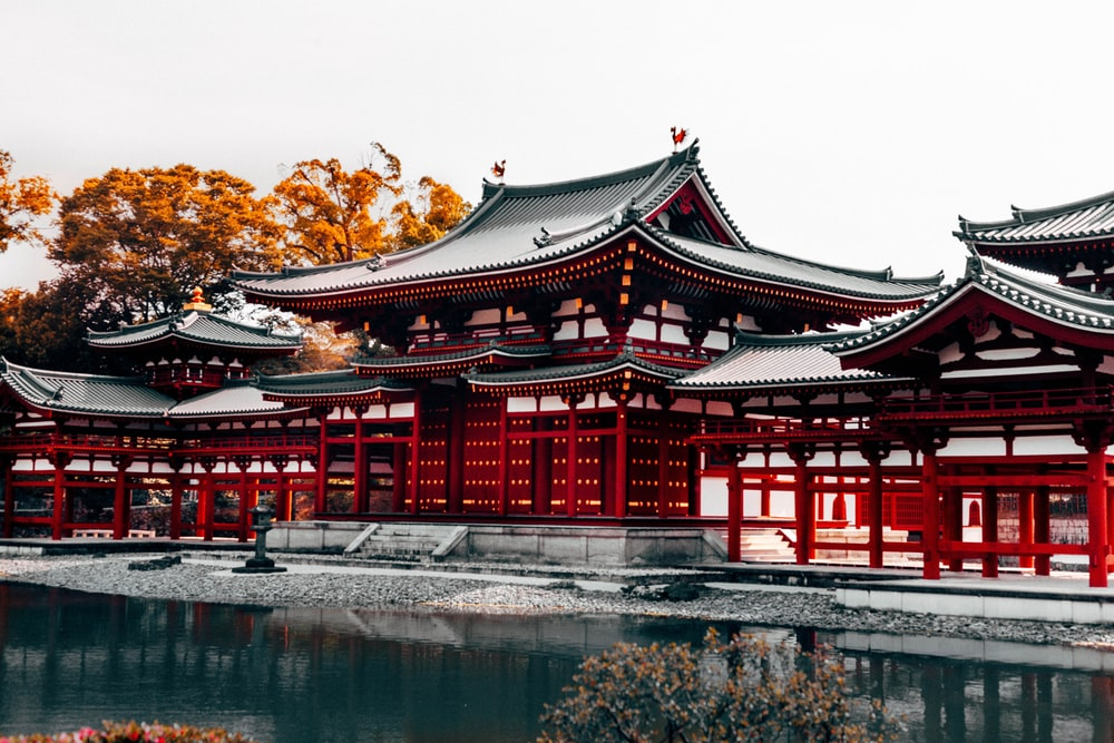 red, black, white, and gray pagoda temples