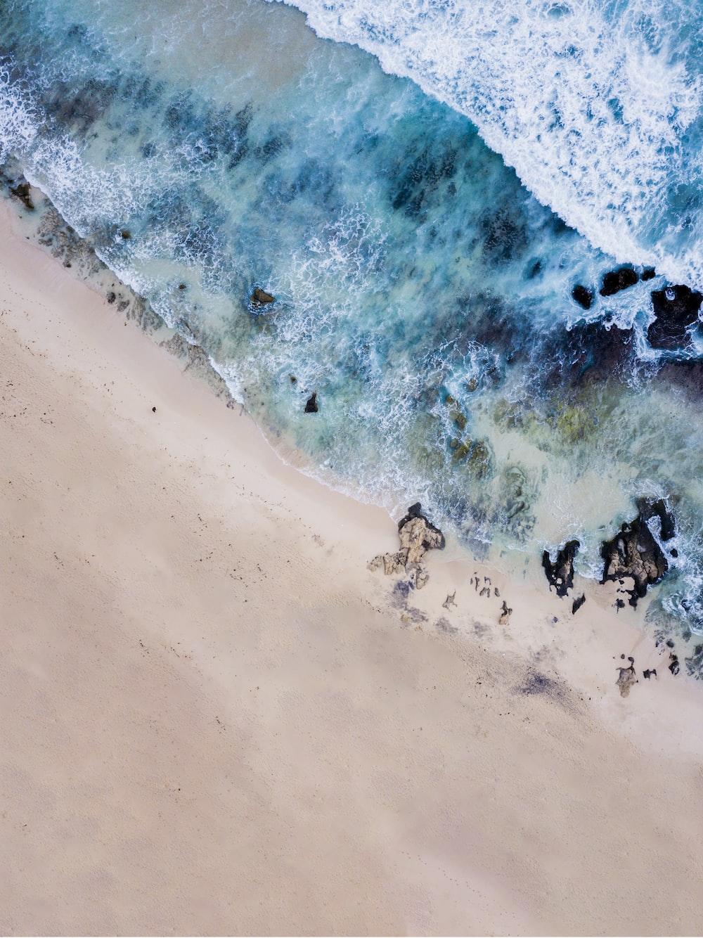 bird's-eye photography of body of water near shore