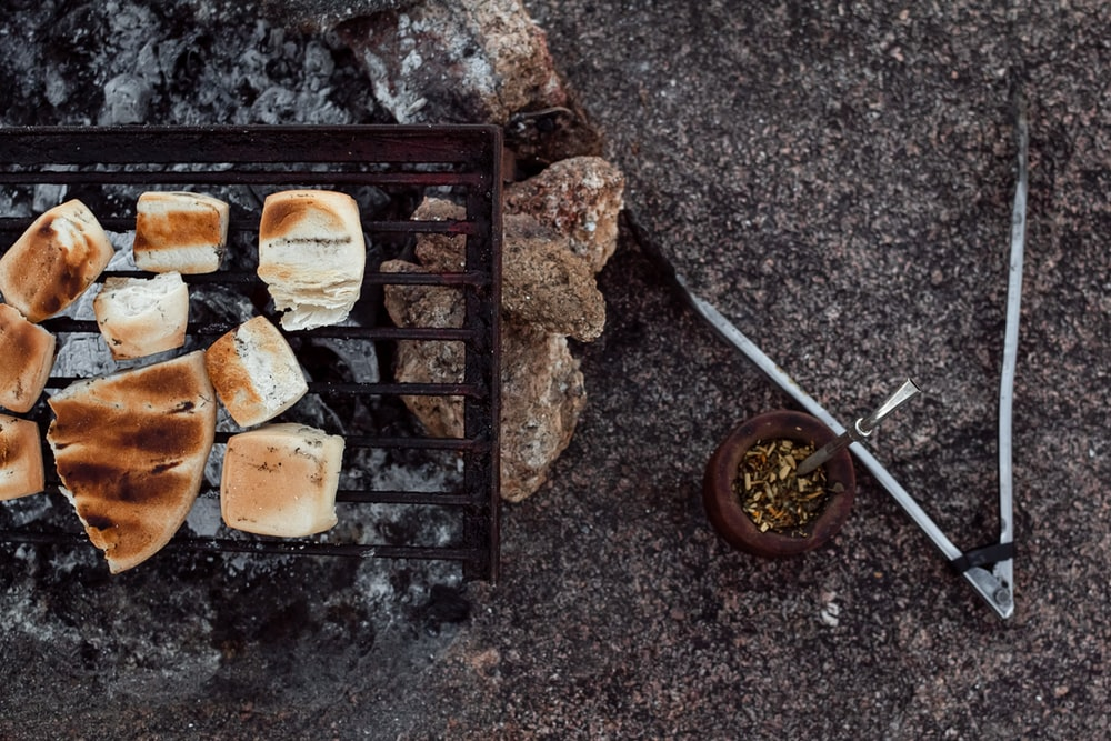 grilled bread on black grill