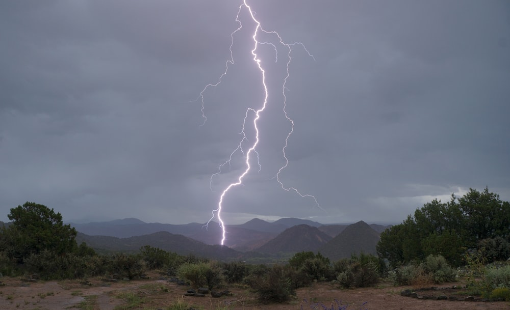 lightning hitting mountain