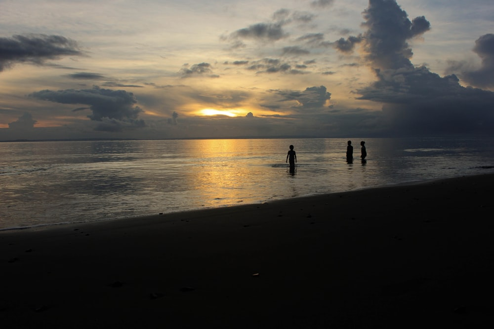 silhouette of three people near shore