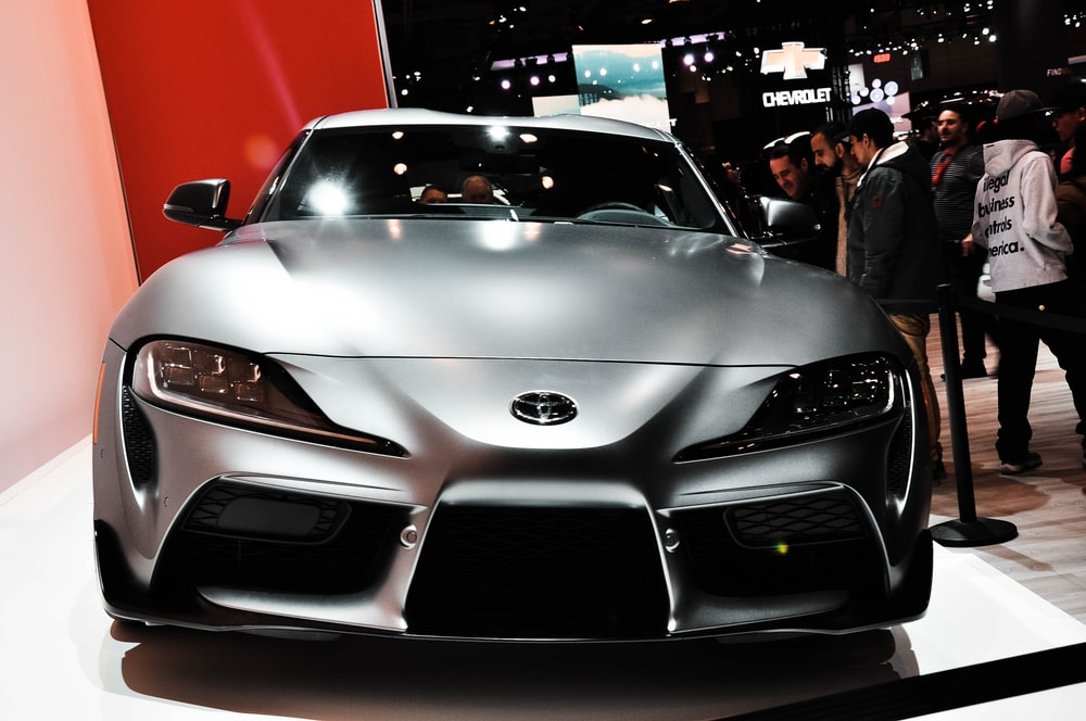 grey Toyota coupe in car show