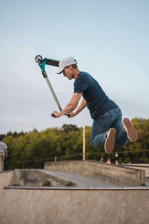 man jumping on mid air