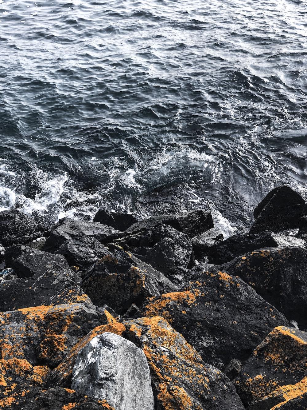 black stones beside sea