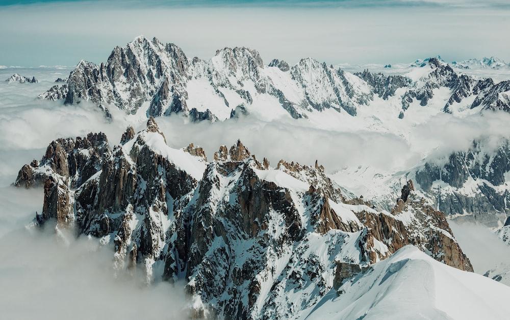 rocky mountain during winter season