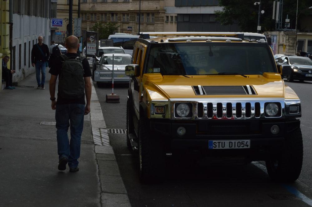yellow Hummer H2 SUV