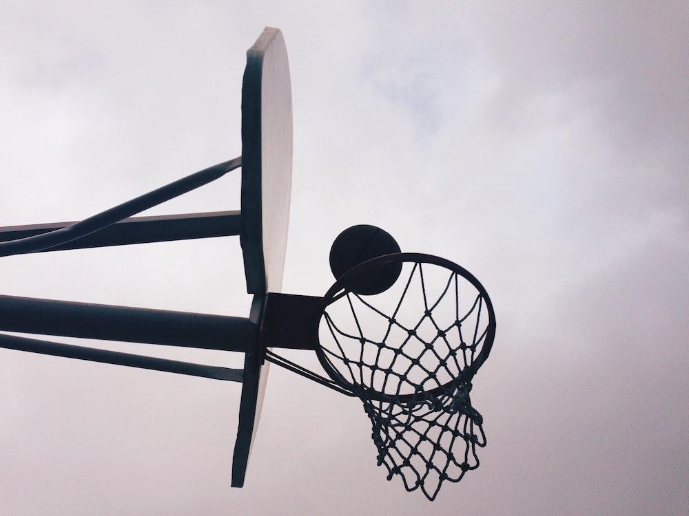 black and gray portable basketball hoop