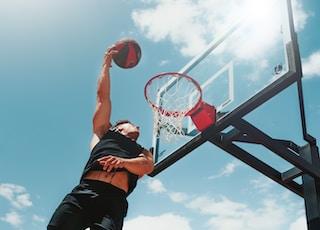 man performing dunk