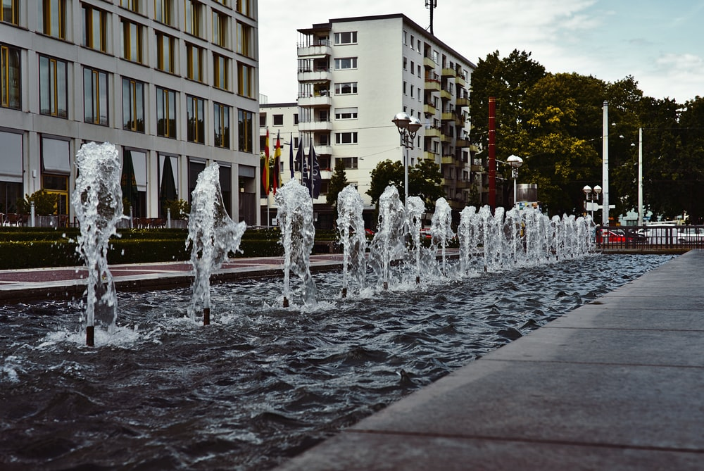 water fountain beside park