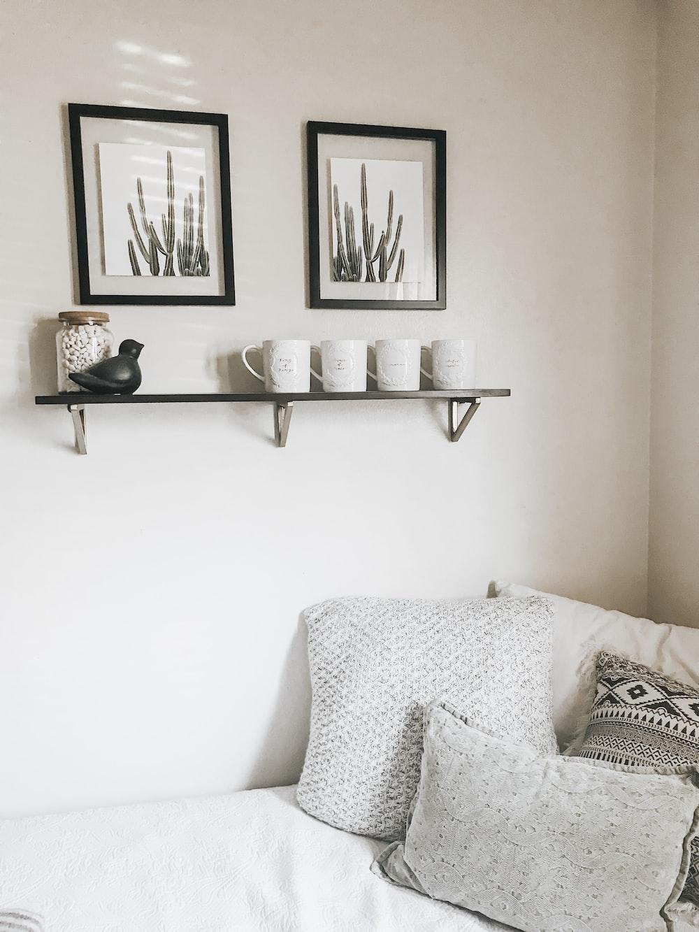 vases on floating shelf