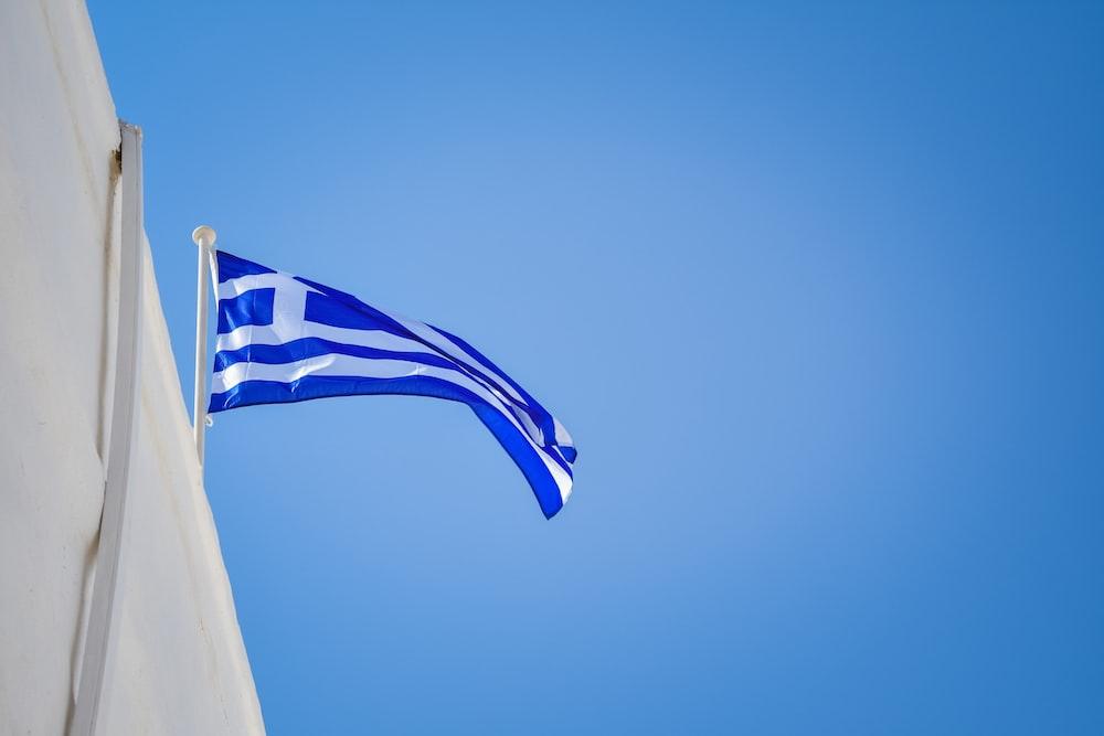 blue and white Greek flag