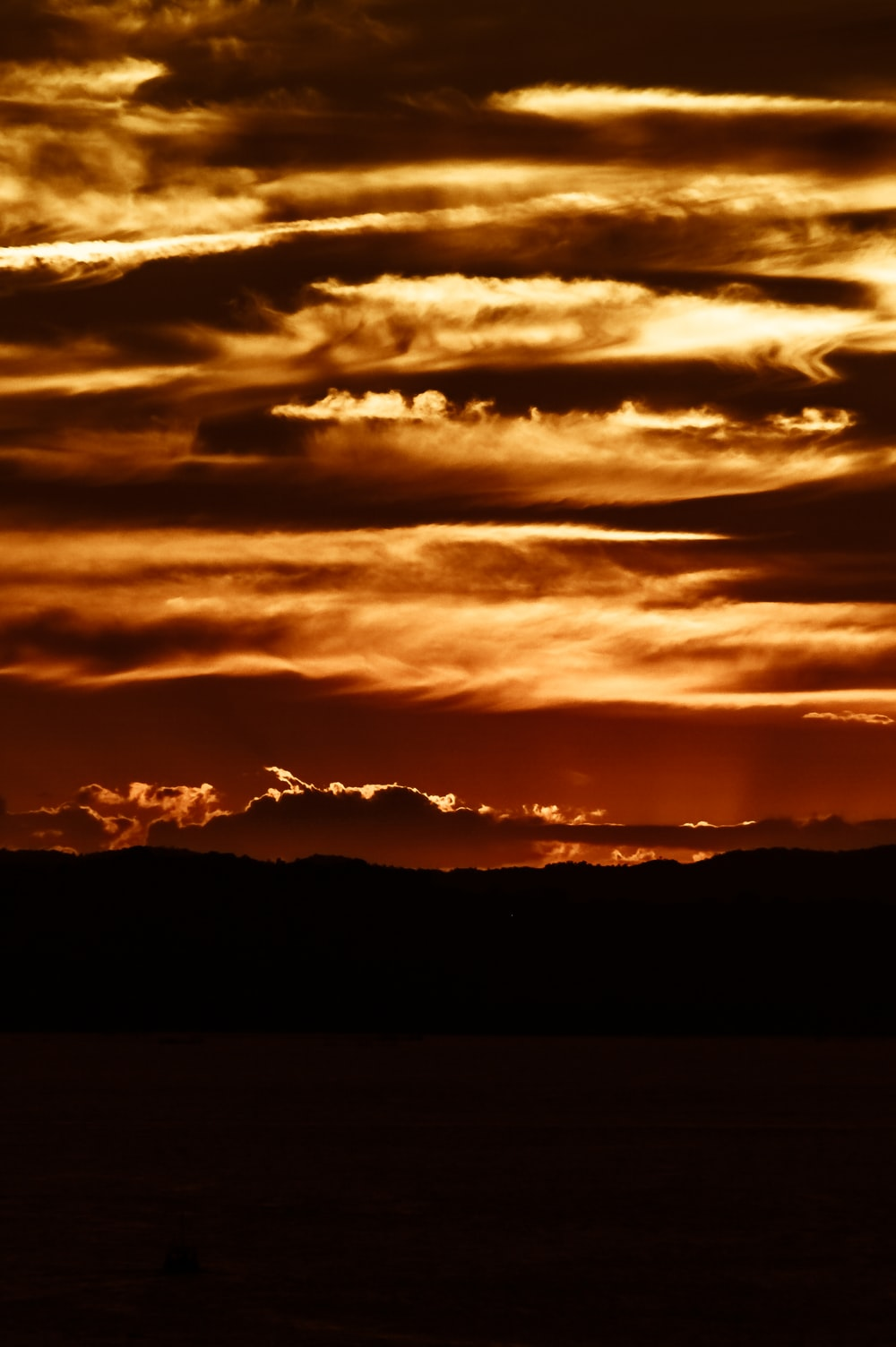 orange clouds photo during sunset